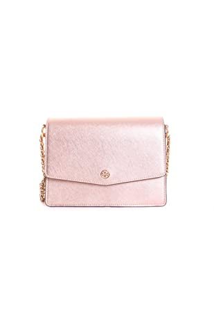 17e754aa10 Amazon.com: Tory Burch Robinson Metallic Shoulder Bag in Light Rose Gold:  Clothing