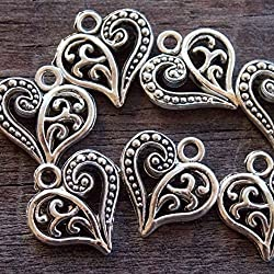 30 Antiqued Silver Filigree Heart Charms 15 mm x 24 mm (NS607)