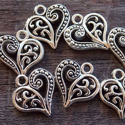 Silver Filigree Heart (30 Antiqued Silver Filigree Heart Charms 15 mm x 24 mm (NS607))
