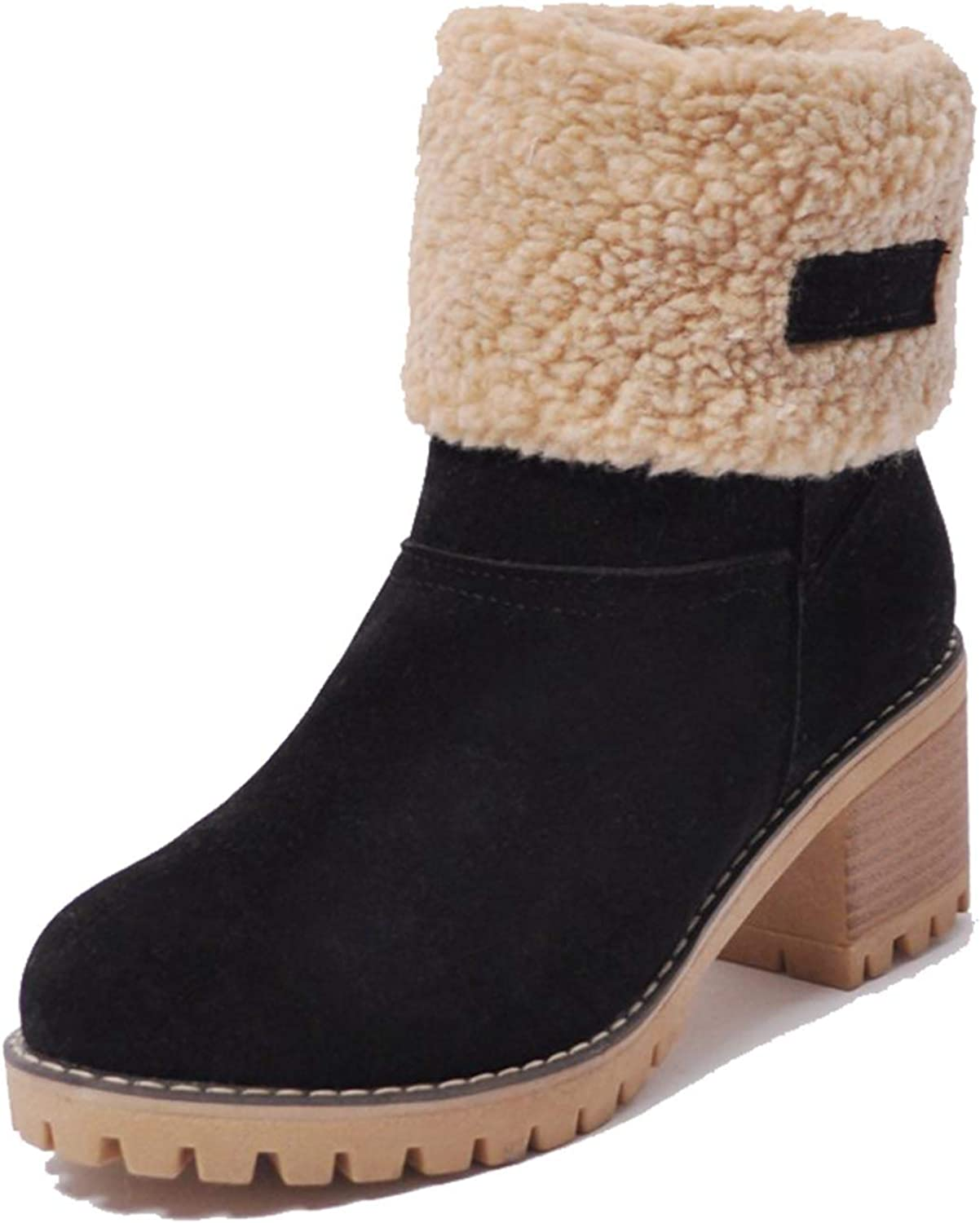 Kssmi Warm Cute Women Winter Snow Ankle Boots Faux Fur Chunky Block Heel  Short Booties