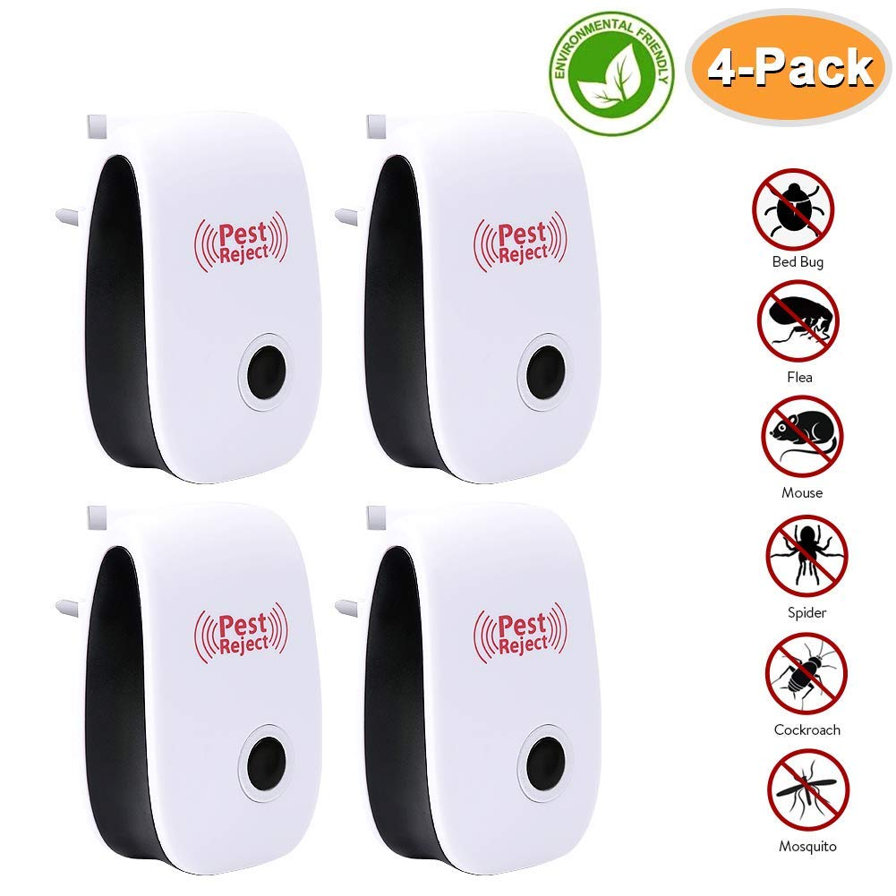 Baseus Ultrasonic Pest Repeller, 4 Pack Pest Control Insect repellent for Spider, Mice, Cockroach, Ants, Mosquitoe, Bed Bug Safe for Human and Pet