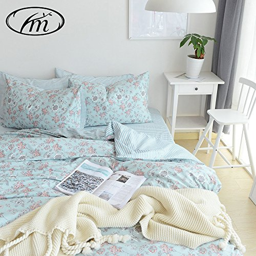 VM VOUGEMARKET Floral Cotton Duvet Cover Set Queen Blue Flow