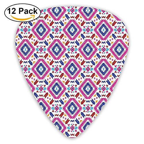 (Newfood Ss Hand Drawn Seamless Pattern With Ethnic Mayan Stripes Guitar Picks 12/Pack)