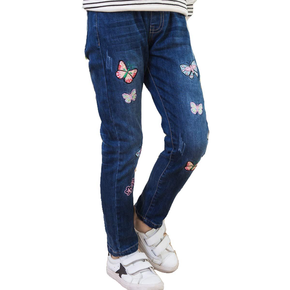 OnlyAngel Girls Denim Pants Butterfly Printed Slim Elastic Waist Jeans Age 4-12