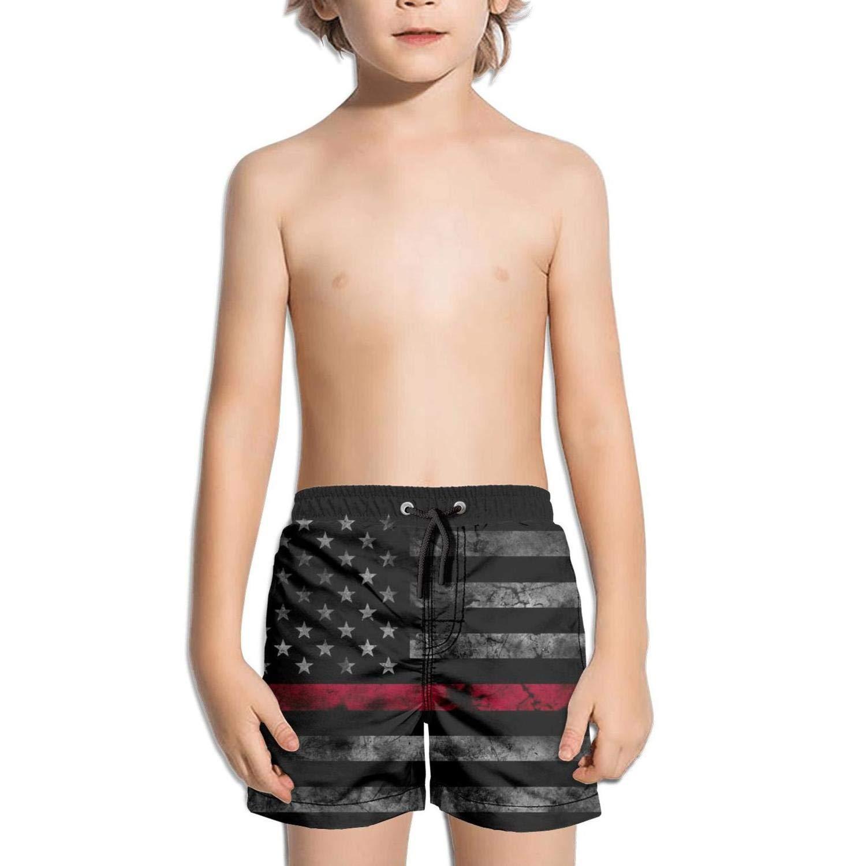 BingGuiC Boys Quick Dry Shorts Thin Red Line Subdued American Flag Fashion Swim Trunks