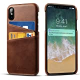 Compatible 2018 6.1 inch iPhone XR, DEMEDO iPhone XR Leather Case Cards Holder, 2 Credit Card ID Card Slots, Ultra Slim Protective Phone Case iPhone XR, Brown