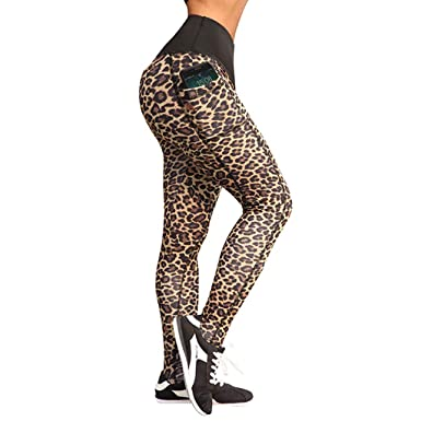 67c67876030f38 Fitfulvan Women Leggings Workout Leopard Fitness Sports Gym Running Yoga  Athletic Pants(Khaki,Asian