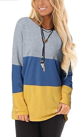 VONDA Camiseta túnica de manga larga con cuello redondo a rayas y codo para mujer