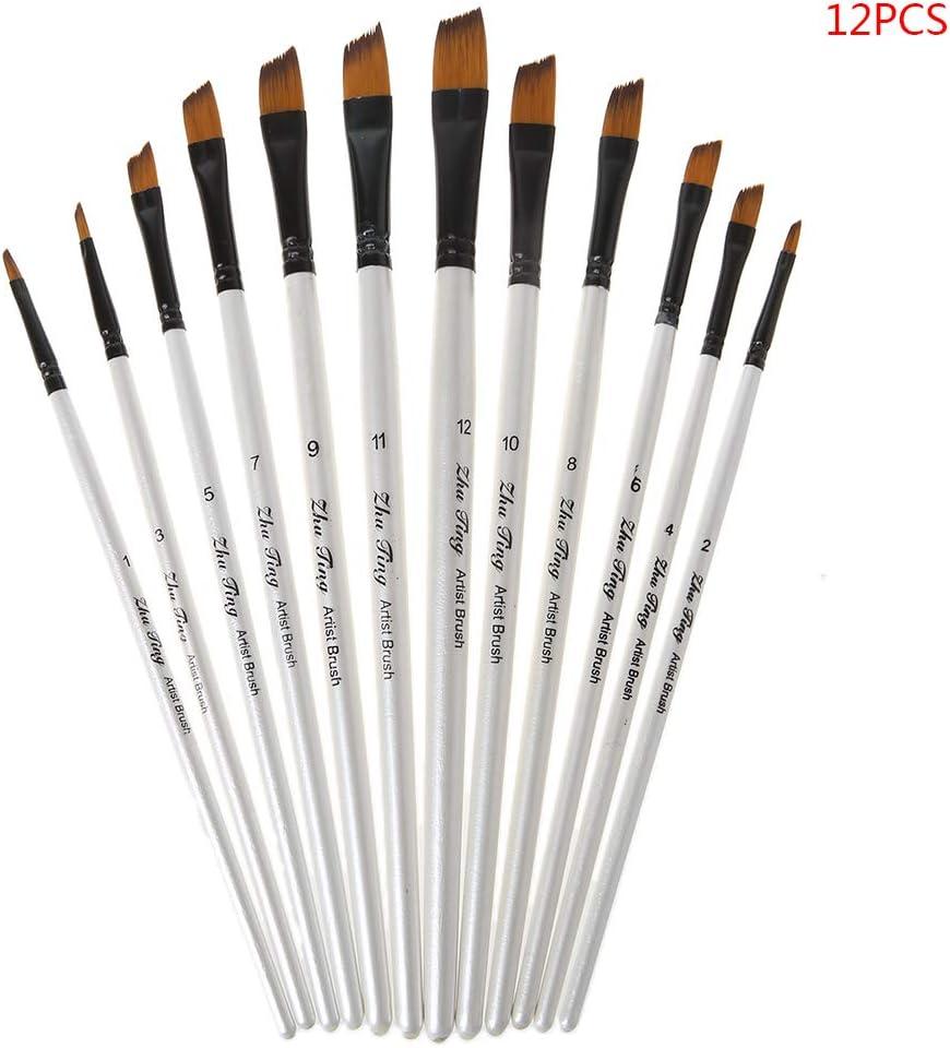 12 Pcs//1 Set 4 Nylon S-TROUBLE Lot de 12 pinceaux /à Peinture en Nylon pour Aquarelle Acrylique Manche en Bois Peinture /à l/'Huile Pointe Arrondie et Pointue Bois