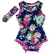 Toptim Baby Girls Floral Pom Romper Summer Jumpsuit with Headband (6-12M, Rose&Black)