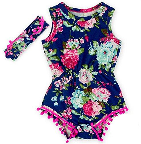Toptim Baby Girls Floral Pom Romper Summer Jumpsuit with Headband (12-24M, Rose&Black)