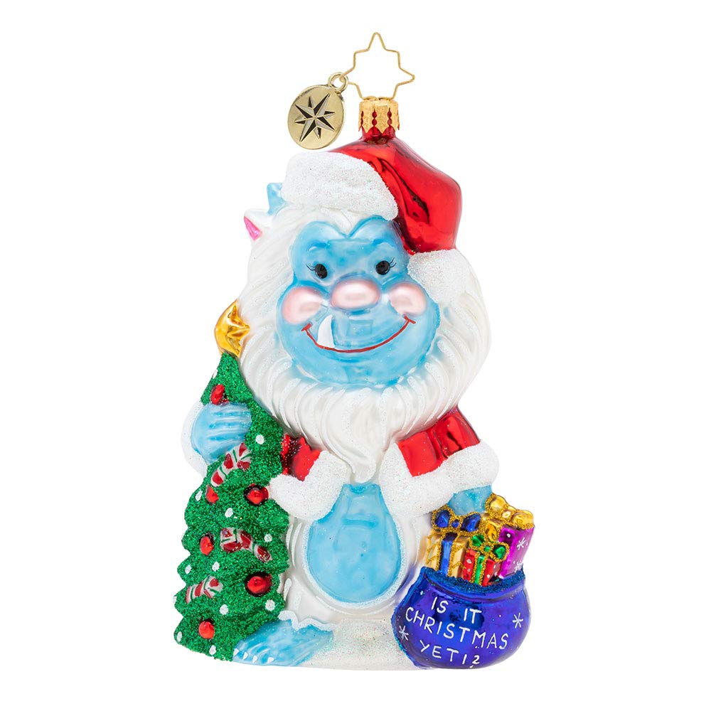 Christopher Radko is It Yeti Christmas Ornament, Blue, White, red, Green