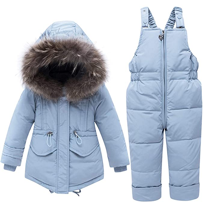 JELEUON Baby Girls Two Piece Winter Warm Hooded Fur Trim Snowsuit Puffer Down Jacket with Snow Ski Bib Pants Outfits best girls' snowsuits