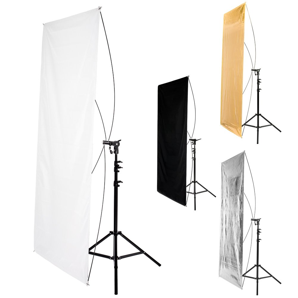 Fovitec StudioPRO - 35'' x 70'' Rectangular Reflector Panel - [Contains Reversible 1x Silver/Gold and 1x Black/White Panel][Carrying Sleeve Included]