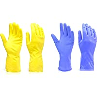 KR STORE™ Reusable Rubber Hand Gloves for Washing Cleaning Kitchen and Garden(Pack of 2)(Blue)