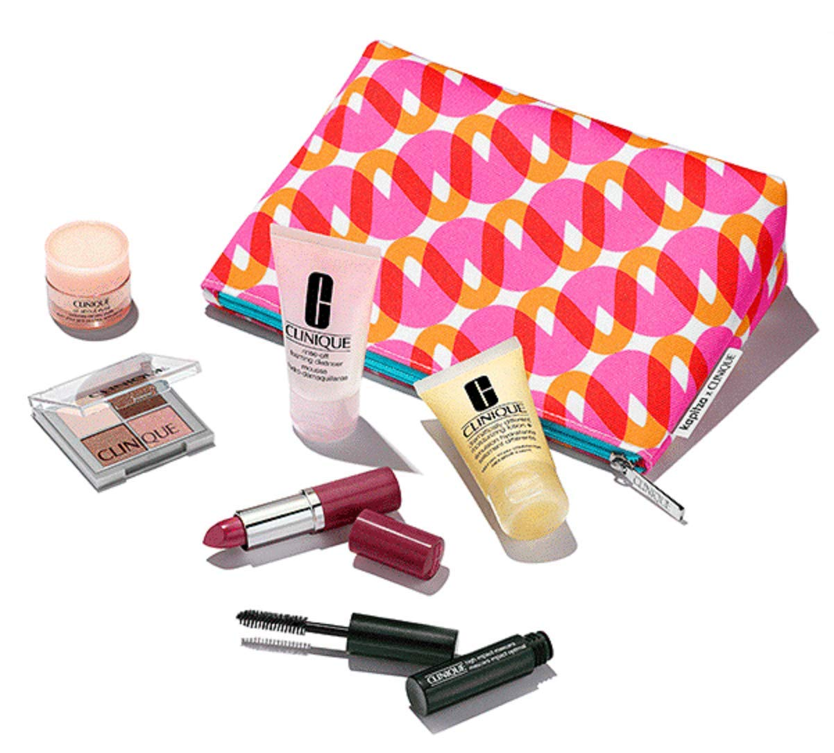Clinique 7 Pcs 2018 Skincare Gift Set with Pop Lip Colour Primer Full Size in Kapitza Makeup Bag 70 value