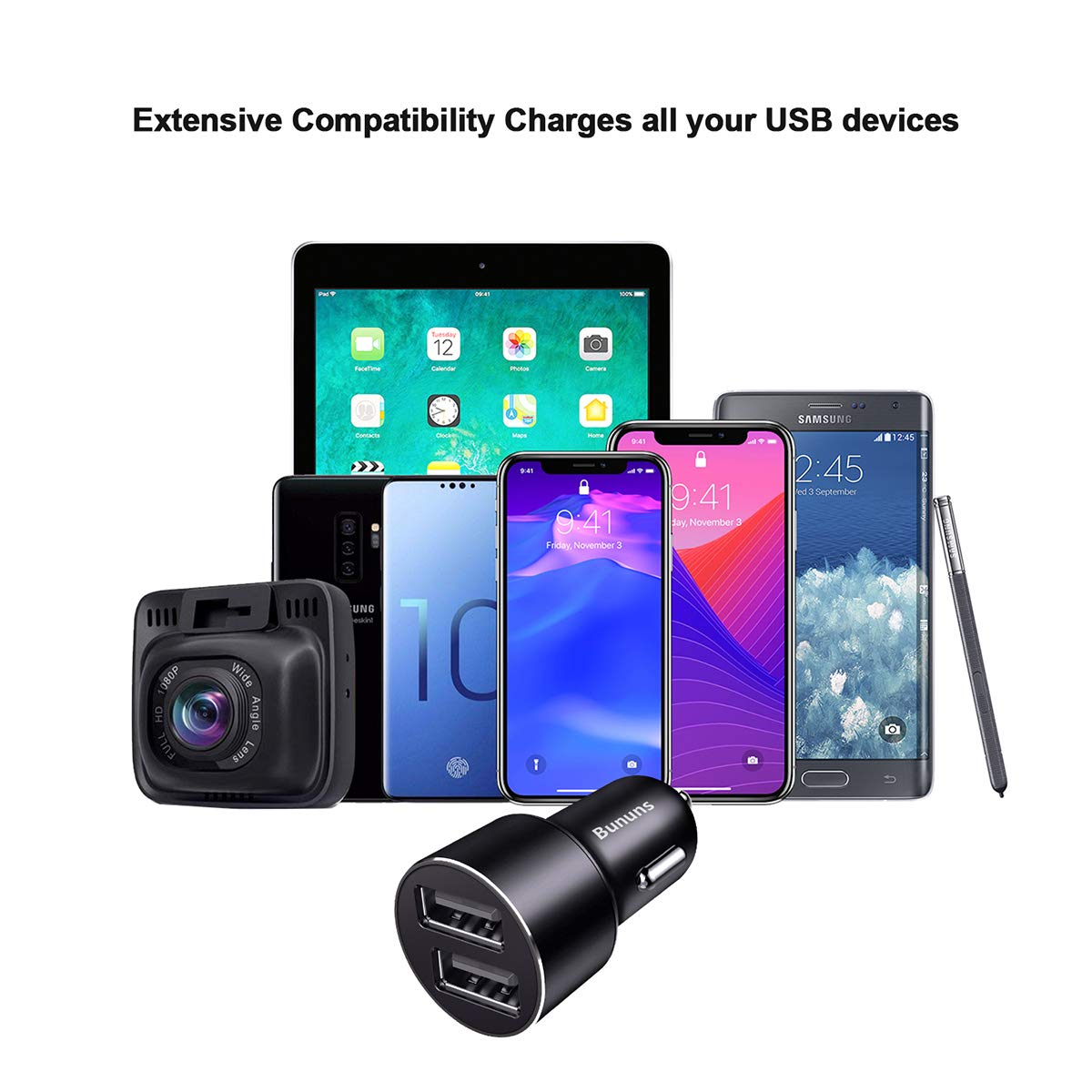 Dual Car Adapter for Quick Charging Bununs Dual Port USB Car Charger for Apple /& Android Devices 2 Pack Fast Car Charging Mini Flush Fit for iPhone iPad Galaxy Note