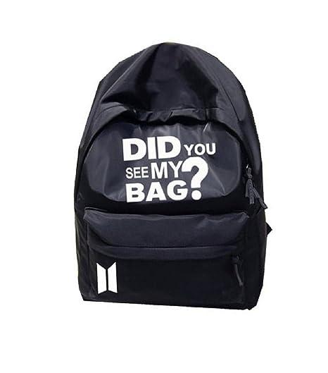 mainlead Kpop BTS Logo Did You See My Bag Backpack Bangtan Boys Schoolbag  Laptop(Black