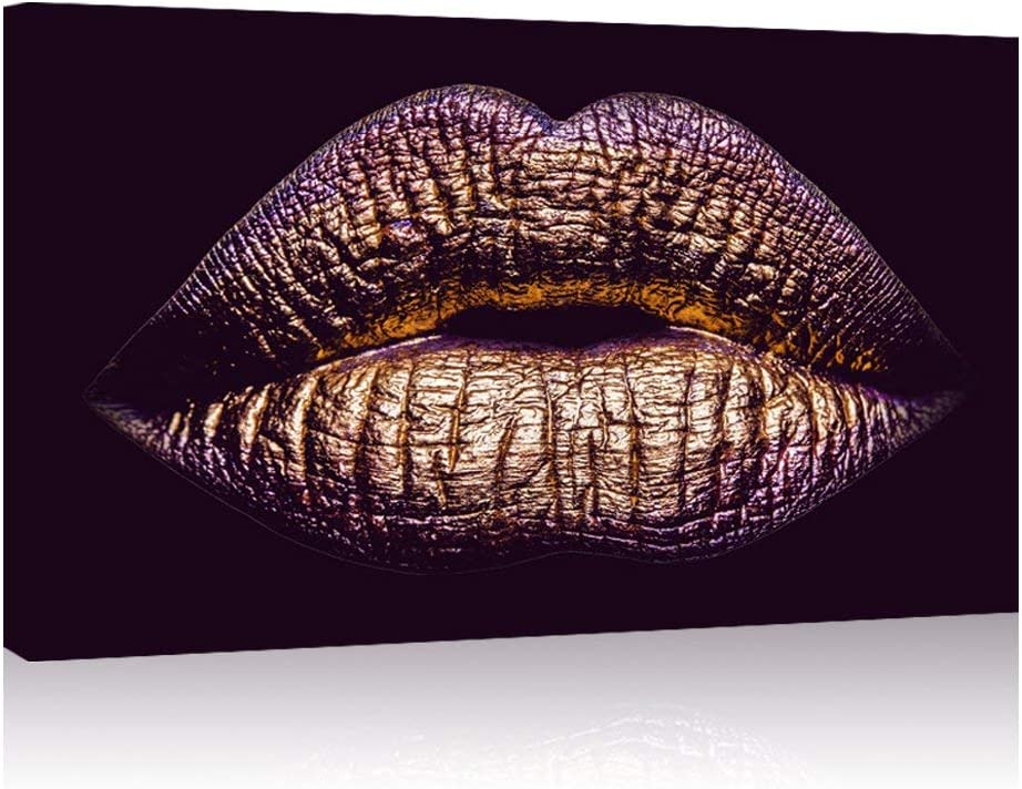 "LevvArts - Purple Canvas Wall Art,Female Sexy Gold Lips Painting Prints on Canvas,Giclee Wall Painting for Home or Office Decor, Stretched and Framed Ready to Hang(16""x24"")"