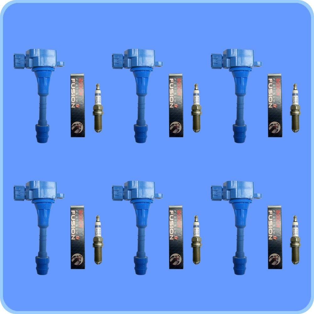 Set of 6 Bosch Platinum IR Fusion Spark Plugs + 6 AD Auto Parts Ignition Coils For Infiniti & Nissan