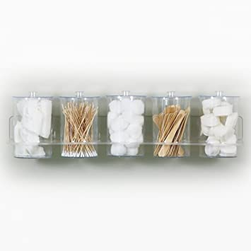 Wall Mounted Bathroom or Kitchen Organizer Rack with 5 Clear Plastic  Storage Jars and Lids