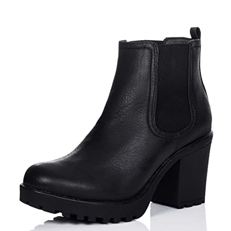 39a6dd52f2b0a SPYLOVEBUY Yael Women's Cleated Sole Block Heel Chelsea Ankle Boots Pumps