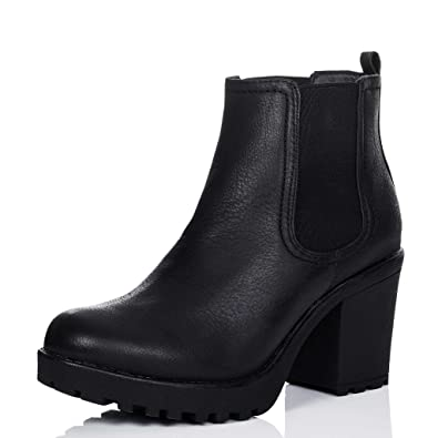 dd7232498a9 Cleated Sole Block Heel Chelsea Ankle Boots Pumps Black Leather Style SZ 5