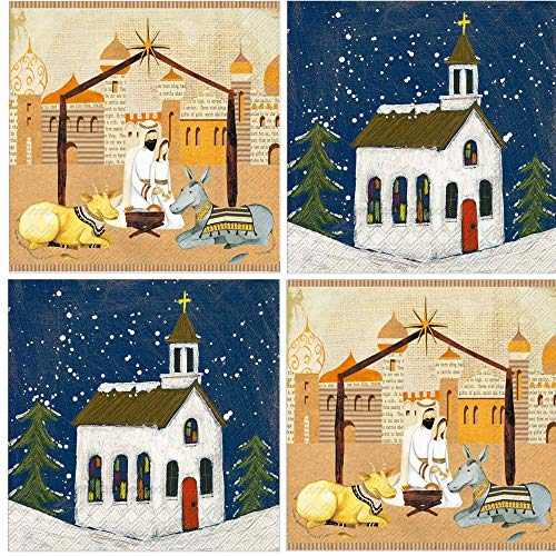 Nativity Christian Church Christmas Napkins Assorted Variety Pack Beverage paper napkins assorted 40 count Set