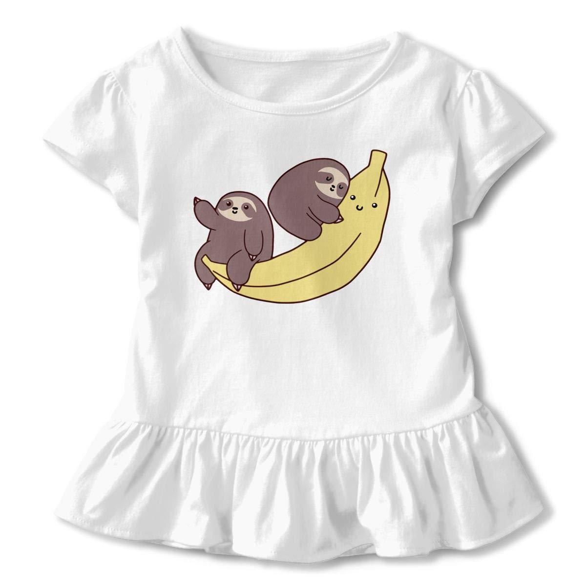 Sloths and Giant Banana Baby Girls Casual Ruffle Top T-Shirt Flounces Dress Toddler Girls Summer Tops