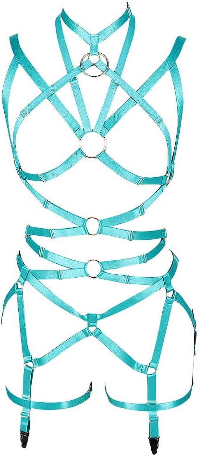 Womens Punk Full Body Harness Waist Belts Strappy Caged Stockings Garter Set Elastic Adjust Lingerie Goth EDC Festival Rave Wear