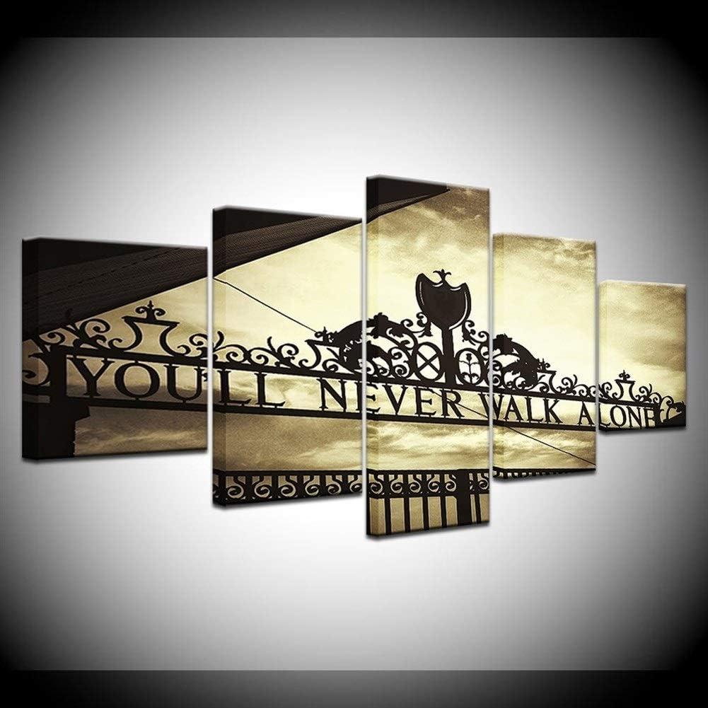 5pcs HD Impresión Deportes Liverpool Puerta de Hierro Nunca caminarás solo Arte Decoración cartel de la pared modular Cuadro lienzo Estampados (Size (Inch) : 40x60 40x80 40x100cm)