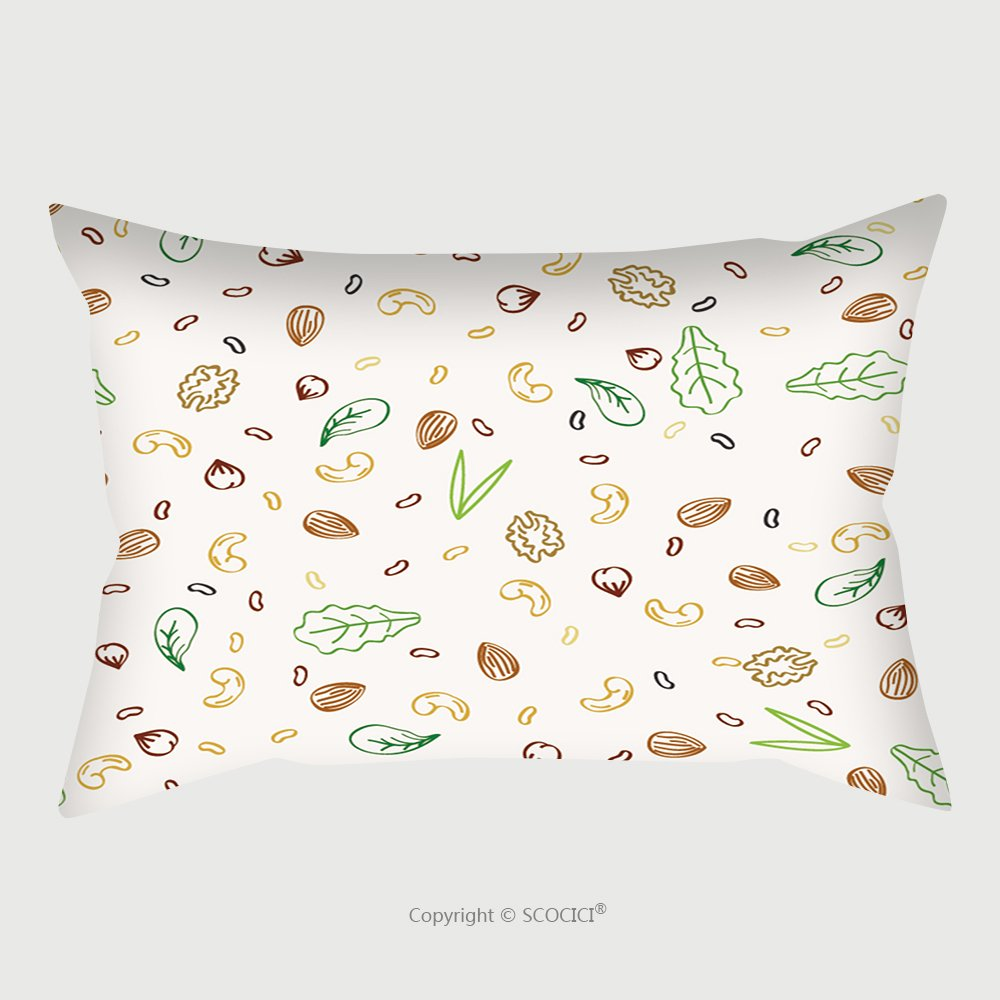 Custom Satin Pillowcase Protector Nuts And Plant Foods For Vegetarians And Vegans Doodle Seamless Pattern Vector Illustration 211943848 Pillow Case Covers Decorative by chaoran (Image #1)
