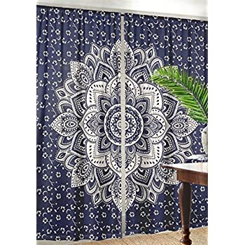 Ombre Mandala Window Curtains Indian Drape Balcony Room Decor Curtain Boho Set By Labhanshi