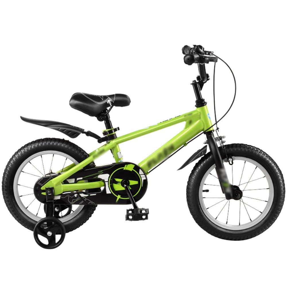 HAIZHEN マウンテンバイク 子供用自転車ベビーキャリッジ12/14/16/18インチマウンテンバイクブルーシルバーグリーン環境保護材料ファッションセキュリティ 新生児 B07CG481WK緑 14 inch