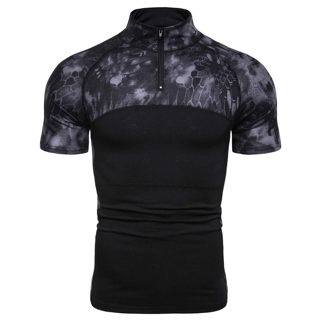 Corriee T-Shirt for Men Stylish Short Sleeve Zip Up Camouflage Shirts Mens Summer Outdoor Tops