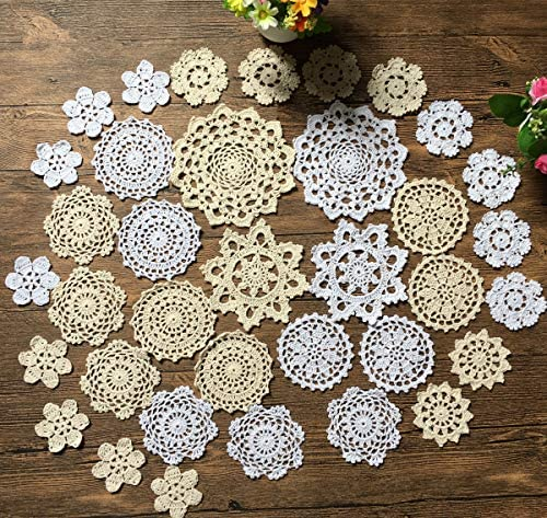 Mindplus 36pcs Mini Hand Crochet Doilies 3-7 inches White Beige Vintage Wedding Decorate Hight Tea