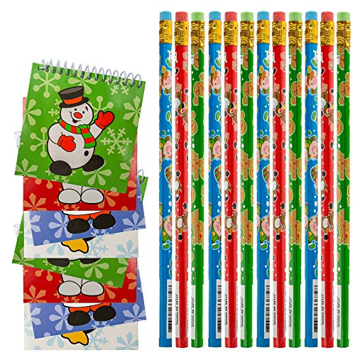 FAVONIR 24 Pcs Christmas Party Favor Stuffers Holiday Themed Notepad And Pencils. Goody Bag Handout Assortment Kids Activity And Fun Reward Prizes
