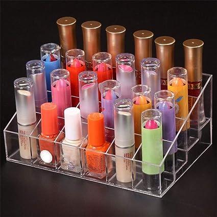 Lomire Organizador de Maquillaje Acrilico Transparente, Caja con 24 Soportes Organizador Para Cosméticos Lápiz Labial