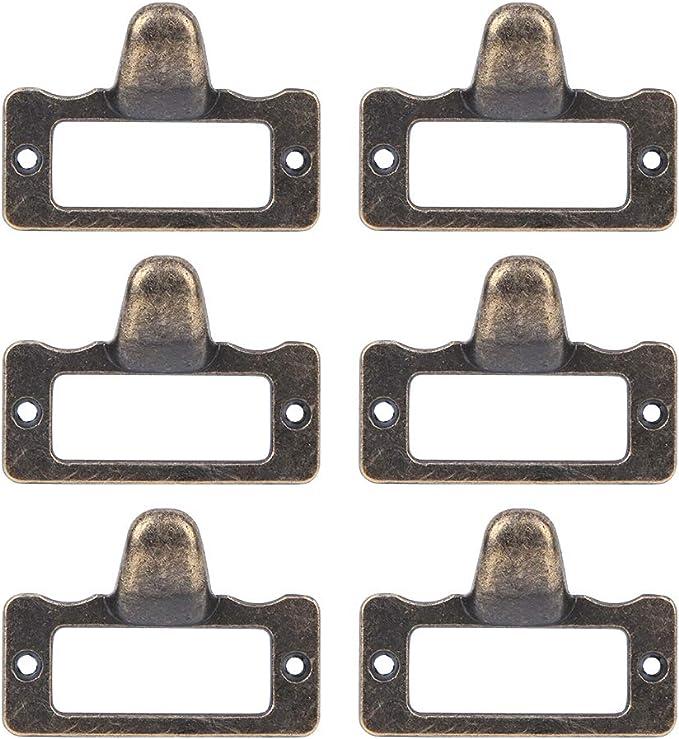 6 St/ück Bronze Etikettenhalter Metall Visitenkartenrahmen Schrank Schublade zieht Griff Dateinamenkartenhalter