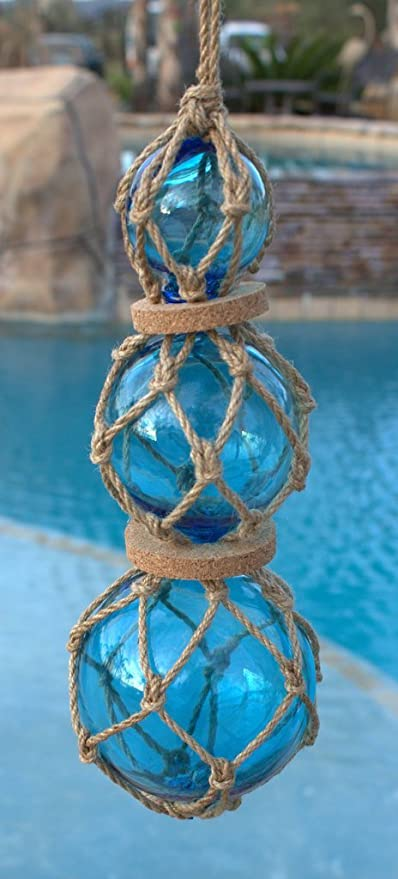 "3/""  BLUE CURIO GLASS FLOAT BALL BUOY BOUY"