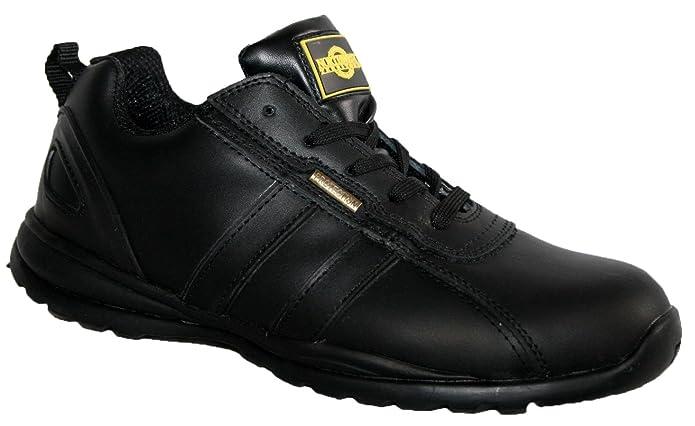 HOLMAN Herren Sicherheit Stahlkappe Leichte Schnürschuh Arbeit Schuh Trainer, Schwarz - Schwarz - Größe: 45