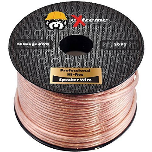 14 Gauge Speaker Wire 50ft - Pure Copper Core Stranded 2-Conductor Audio Cables for Home Theater , Car Speakers , Amps , Subwoofer , DJ - 14 AWG w/ White Polarity Stripe by eXtreme Consumer Products