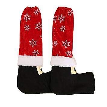 LUOEM Mesa de Navidad y Patas de Silla Silla de Santa Claus pies Copos de Nieve Zapatos Botas Patas Decoraciones del Partido 2 unids: Amazon.es: Jardín