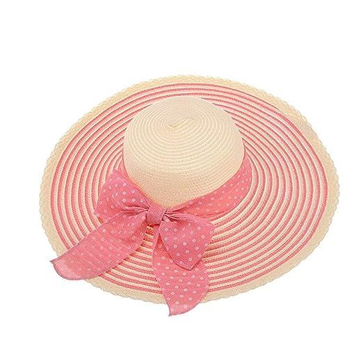 TINKSKY Summer Caps Beach Sun Straw Hat Stripe Floppy Wide Brim Bowknot Hats 074e5e12416e