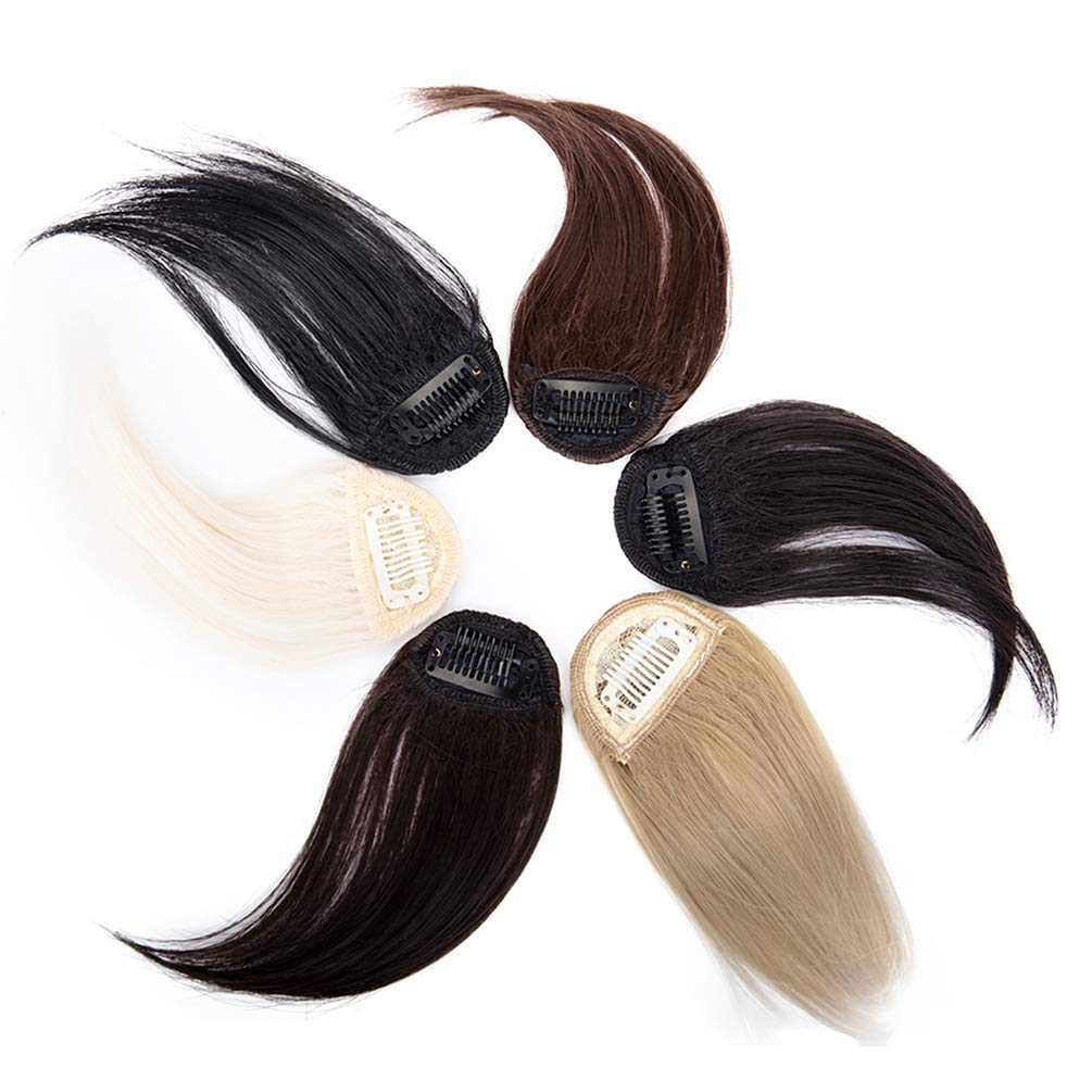 ZAIQUN Clip in Front Hair Bang Fringe Hair Extensions Invisible Flat Fringe Thin Breathable Cute Air Bangs Natural Black