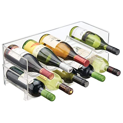 Amazon Com Mdesign Plastic Free Standing Water Bottle And Wine Rack