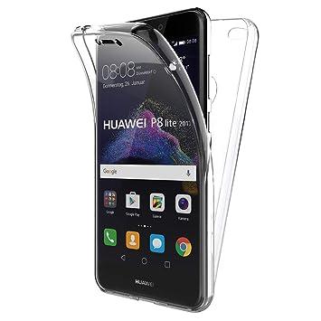 TBOC Funda para Huawei P8 Lite (2017) - Carcasa [Transparente] Completa [Silicona TPU] Doble Cara [360 Grados] Protección Integral Total Delantera ...