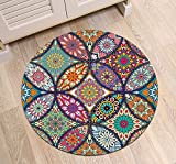 LB Round Oriental Rug with Colorful Mandala Pattern Printed, Traditional Indian Hippie Hipster Home Decor Rug for Living Room Study Kitchen Meditation, 4 ft