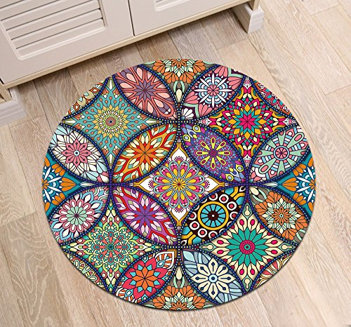 LB Round Oriental Rug with Colorful Mandala Pattern Printed, Traditional Indian Hippie Hipster Home Decor Rug for Living Room Study Kitchen Meditation, 2' diameter