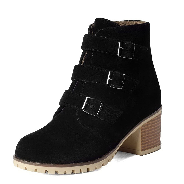 MayMeenth Women's Soft Material Zipper Round Closed Toe Kitten-Heels Low-top Boots